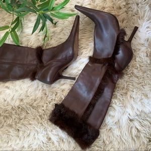 ALBERT NIPON, Leather Knee High Pointy Toe Boots
